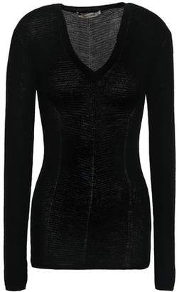 Roberto Cavalli Embroidered Wool And Cashmere-blend Sweater