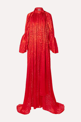 Balenciaga Draped Leopard-print Devoré-satin Top - Red