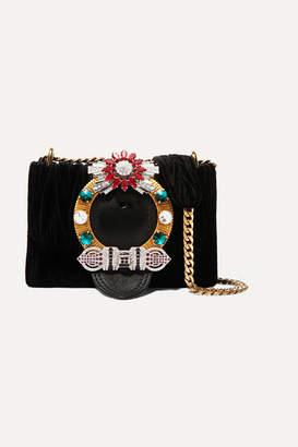 Miu Miu Miu Lady Crystal-embellished Leather And Matelassé Velvet Shoulder Bag - Black