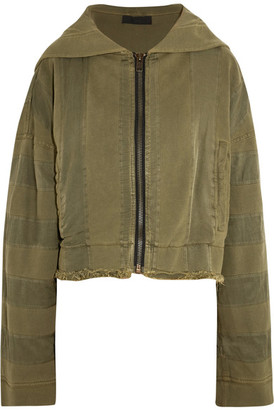 Haider Ackermann - Hooded Twill-trimmed Cotton-jersey Jacket - Army green $1,220 thestylecure.com