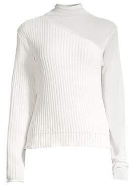 RtA Franny Mockneck Knit& Sheer Sweater
