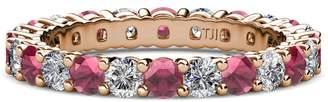 575 Denim TriJewels Rhodolite Garnet & Diamond 3mm Shared Prong Eternity Band 2.16 ct tw-2.59 ct tw 14K Rose Gold.size