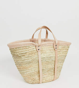 Orelia straw basket bag with leather trim