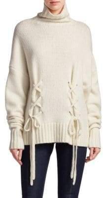 Cinq à Sept Rhea Lace-Up Turtleneck Sweater
