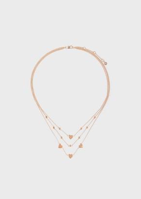 Emporio Armani Women'S Rose Gold-Tone Sterling Silver Multi-Strand Disc Necklace
