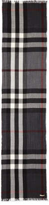 Burberry Men's Wool/Cashmere Tricolor Check Lightweight Scarf, Charcoal