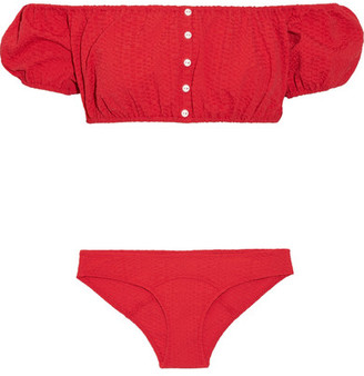 Lisa Marie Fernandez - Leandra Off-the-shoulder Seersucker Bikini - Tomato red $395 thestylecure.com