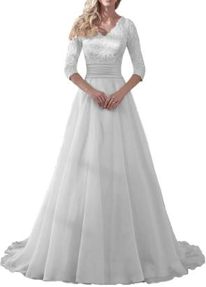 DressyMe Modest Wedding Dresses for Bride V-neck 1/ sleeve Fitted-Waist Organza