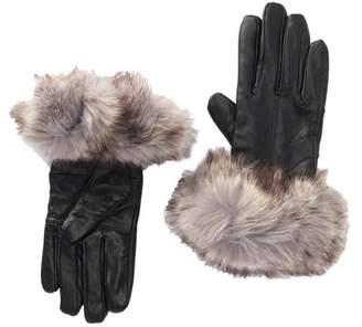 Surell Faux Fur Trimmed Faux Leather Gloves