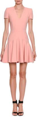 Alexander McQueen V-Neck Fluted-Skirt Mini Dress