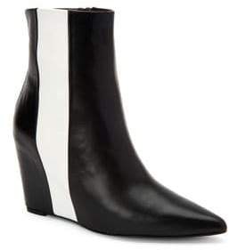 Calvin Klein Yvania Leather Point Toe Wedge Boots