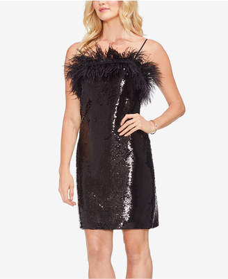 Vince Camuto Feather Sequined Dress