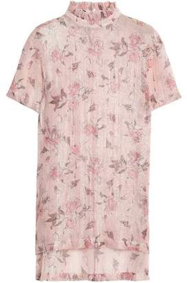 Mother of Pearl Lamé-Trimmed Floral-Print Georgette Top