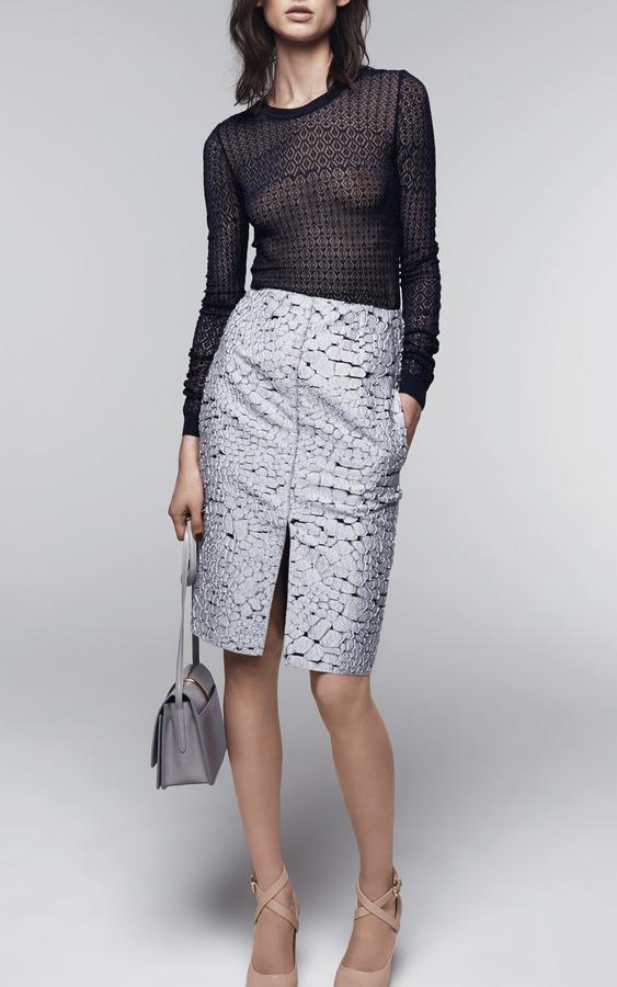 Nina Ricci Crocodile Jacquard Skirt