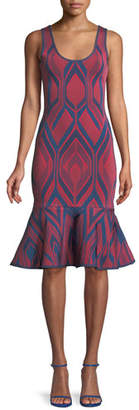 Herve Leger Scoop-Neck Deco-Jacquard Flutter Hem Body-con Cocktail Dress