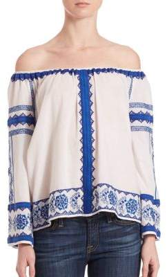Wanda Off-The-Shoulder Embroidered Top $245 thestylecure.com