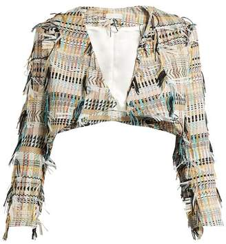 Carl Kapp - Fringe Tweed Cropped Jacket - Womens - Yellow Multi