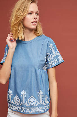 Central Park West Cassidy Embroidered Chambray Top
