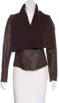 Illia Leather Knit-Trimmed Jacket