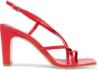 BY FAR Carrie Leather Slingback Sandals - Claret