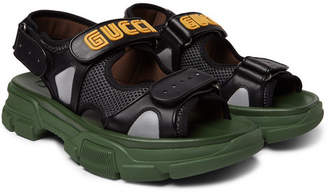 Gucci Leather and Mesh Sandals - Men - Black