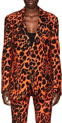 R 13 Women's Leopard-Print Velvet Two-Button Boyfriend Blazer