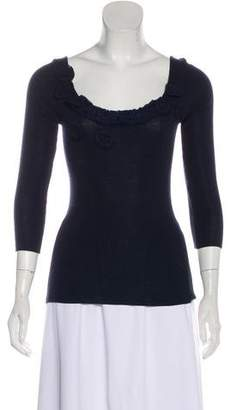 Prada Embroidered Long Sleeve Blouse