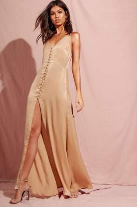 boohoo Hammered Satin Button Through Maxi Dress