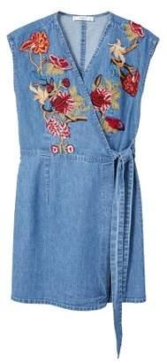 MANGO Flower embroidered denim dress