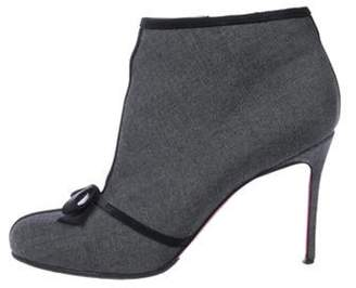 Christian Louboutin Jacquard High-Heel Booties Grey Jacquard High-Heel Booties
