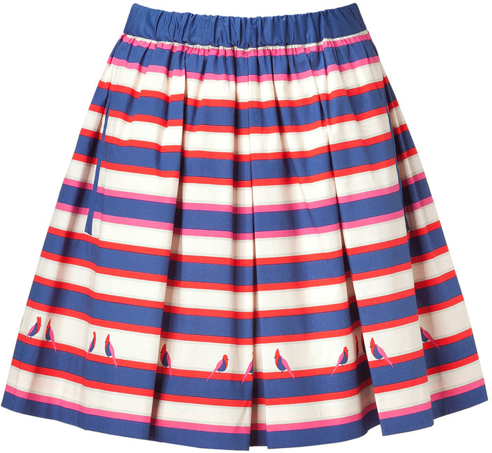 Marc by Marc Jacobs Blue Multicolor Stripe Pleated Flavin Skirt