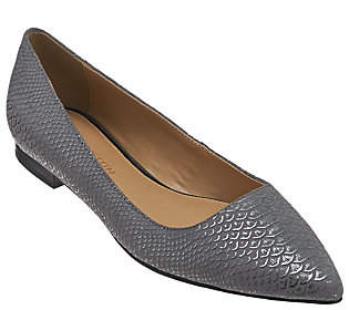 Halston H by Metallic Embossed Python Flats -Lucille