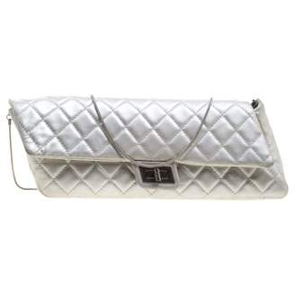 Chanel Silver Leather Clutch Bag