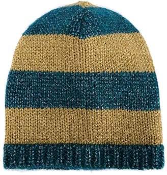 Gucci blue and mustard yellow striped knit beanie a1dd164d9dbd