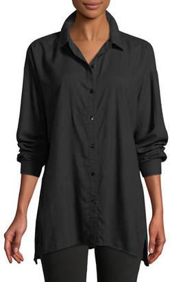 Eileen Fisher Crosshatch Classic Button-Front Big Shirt