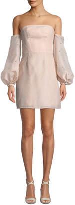 Keepsake Off-the-Shoulder Pearly-Sleeve Sheath Dress