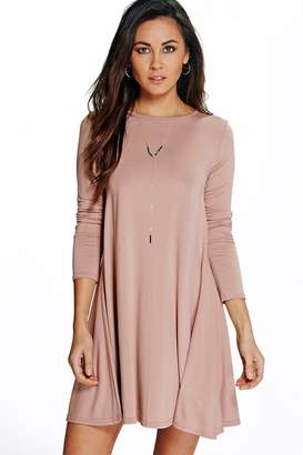 boohoo April Scoop Neck Long Sleeve Swing Dress