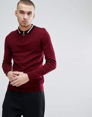 Asos DESIGN Knitted Polo With Zip Neck & Contrast Tipping In Burgundy