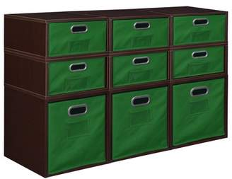 Cubo Niche Storage Set- 3 Full Cubes/6 Half Cubes with Foldable Storage Bins- Truffle/Green
