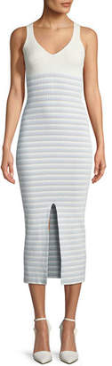 Opening Ceremony V-Neck Striped Rib-Knit Maxi Dress