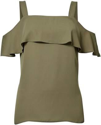 Dorothy Perkins Womens Khaki Cold Shoulder Top