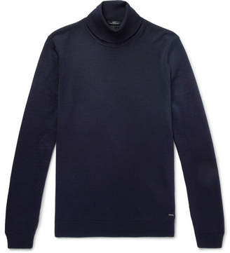 HUGO BOSS Slim-Fit Virgin Wool Rollneck Sweater - Navy