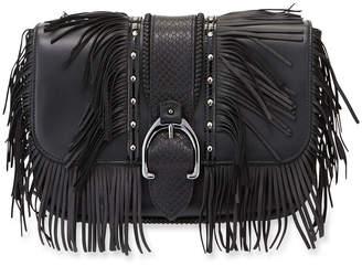 Longchamp Amazone Fringed Leather Hobo Bag