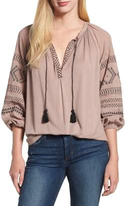 Lucky Brand Embroidered Peasant Blouse
