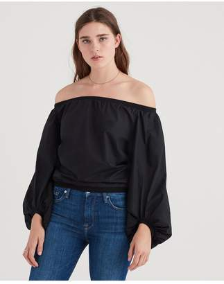 7 For All Mankind Off Shoulder Blouson Top In Black