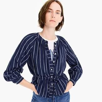 J.Crew Petite tie-waist top in indigo gauze stripe