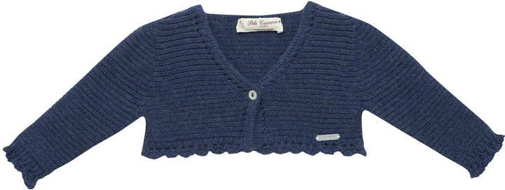 Pili Carrera One-Button Cardigan w/ Crochet Trim, Size 3M-3T