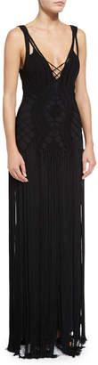 Ralph Lauren Crocheted Sleeveless Cami Gown, Black