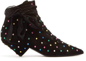 Saint Laurent - Blaze Point Toe Crystal Embellished Boots - Womens - Black Multi