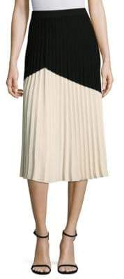 Derek Lam 10 Crosby Pleated Colorblock Skirt